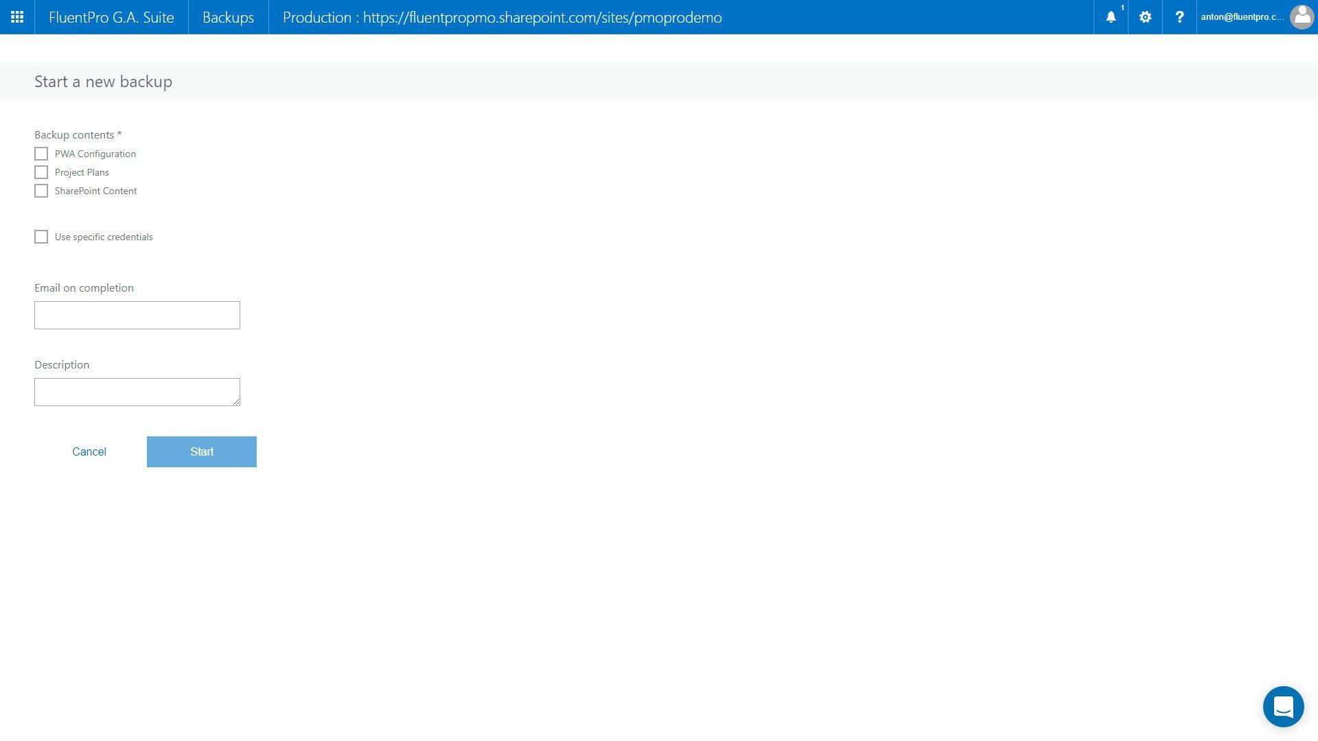 FluentPro Project Online Backup