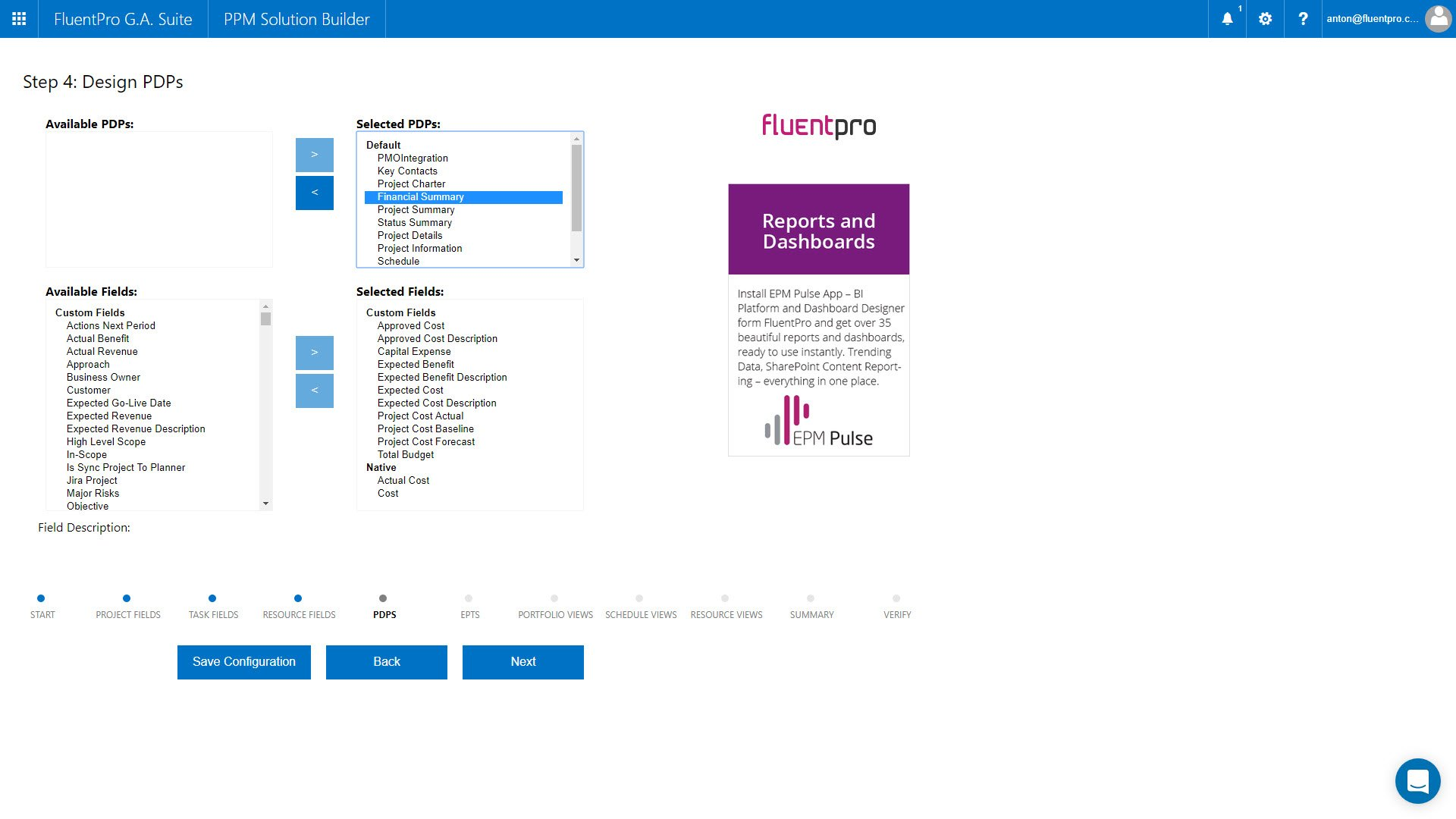 FluentPro G.A. Suite PPM Solution Builder PDPs